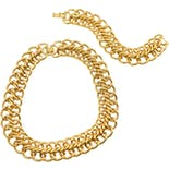60's Chunky Gold Double Chain Necklace & Bracelet Set by Monet
