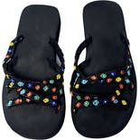 90's Rainbow Seed Bead Flower Power Strappy Platform Sandals