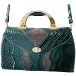 70's Embossed Dark Forest Green Leather Purse