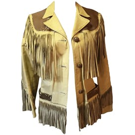 50's Fringed Leather and Cowhide Jacket by Cherokee Togs