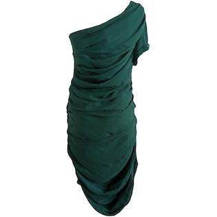 One-Shouldered Jade Green Dress by Halston Heritage