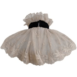 Cream Lace Collar with Black Velvet Ribbon by Bill Blass