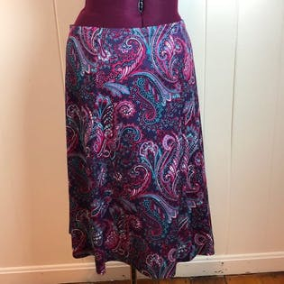 70's/80's Purple Paisley Two Piece Skirt Set