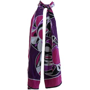 Long Purple Abstract Scarf by Emilio Pucci