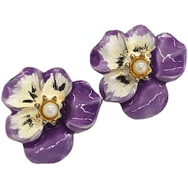 Small Purple Pansy Clip Ons