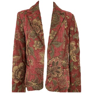 Red Floral Tapestry Blazer