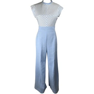70's Blue Polyester Jumpsuit