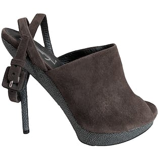 Brown Suede Peep Toe Stiletto Mule with Wrap Around Ankle Strap by Yves Saint Laurent