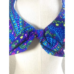 70's Blue Multicolor Psychedelic Vibrant Two Piece Swimsuit