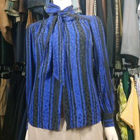 60's Silk Jacquard Secretary Blouse by Adolfo