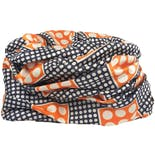 50's Navy, Orange and White Polka Dot Turban Style Hat by Halle Sue New York
