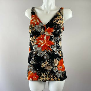 70's Deep Red Floral Bathing Suit