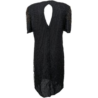 90's Black Beaded Dress with Shoulder Pads and Back Slit by J.m.c.