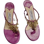 another view of 90's Magenta Leather and Gold Chain Sandal Heels by Jimmy Choo
