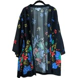 70's Black Kimono Cardigan with Multicolor Floral Print