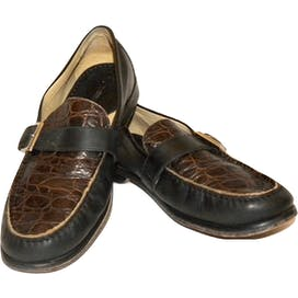 90's Two Tone Leather Croc Stamp Monk Strap Oxfords by Johnston And Murphy