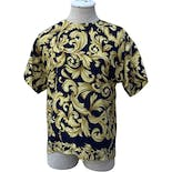 90's Navy Blue and Gold Poly Short Sleeved Patterned Blouse by Martinique