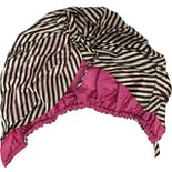 60's Black, White and Pink Striped Turban Hat