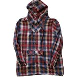50's/60's Plaid Hooded Half Zip Jacket by Handmade