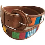 Woven Brightly Colored Brown Leather Belt