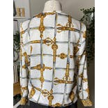 another view of White and Gold Sword Print Button Up Blouse by Laura And Jayne Petite