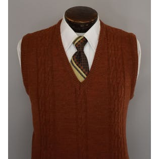 70's Mens Burnt Orange Cable Knit Sweater Vest by Carmel