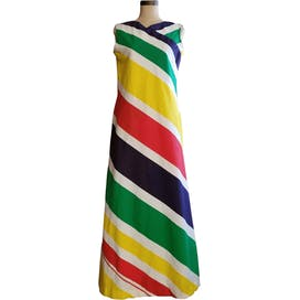 70's Nautical Rainbow Stripe Pocketed Maxi Dress by Bonwit Teller