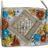 another view of 70's Jamaica Straw Floral Purse