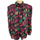 80's Black Abstract Print Polyester Blouse by Andre Sauvage