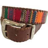 Woven Southwestern Brightly Colored Brown Leather Belt