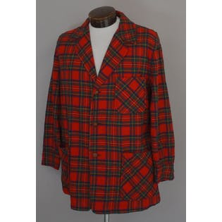 70's Mens Red Plaid 49ers Wool Jacket by Pendleton
