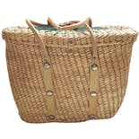 another view of Woven Straw Basket Purse with Floral Print