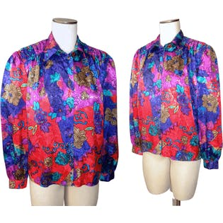 80's Silky Jewel Toned Baroque Blouse by Gianna