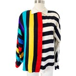 80's Silk Rainbow Stripe Long Sleeve Blouse by Adrianna Papell