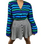 Multi Tone Blue and Green Stripe Blazer