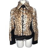 Leopard Fur and Leather Bomber Jacket by Rizal