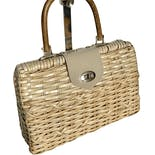 Coated Woven Straw Handbag