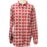 90's Checkered Holiday Santa Long Sleeve Button Up by Westbound