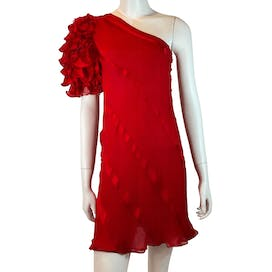 Ruffled Shoulder Cocktail Dress by Judy Hornby Couture