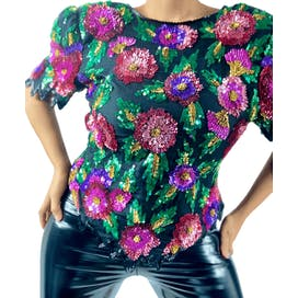 Floral Sequins Beads Blouse