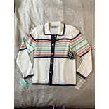 another view of Knit Colorful Striped Button Up Sweater by San Remo
