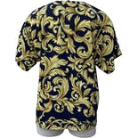 another view of 90's Navy Blue and Gold Poly Short Sleeved Patterned Blouse by Martinique