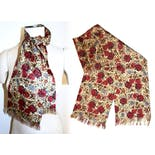 another view of 60's Burgundy Floral Opera Scarf