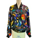 Silk Blend Trippy Bomber Jacket