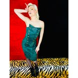 another view of 90's Forest Green Leather Strapless Studded Dress by Michael Hoban North Beach Leather