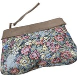 Muted Floral Bag with Beige Accents