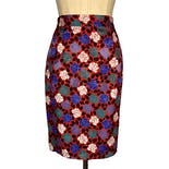 80's Rose Print Silk Pencil Skirt by Le Canari