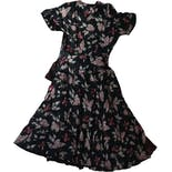 another view of 40's Butterfly Print Silk Dress