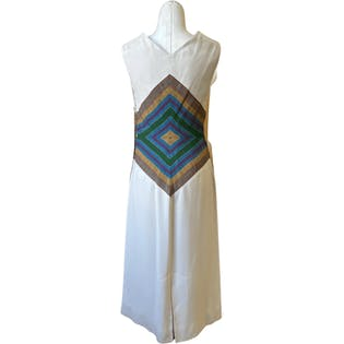 50's Multicolored Mitre Waist Sheath Dress by That Wilroy Look!