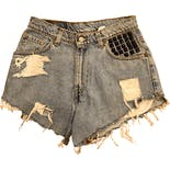 90's Distressed Studded High Waist Denim Shorts by Levis